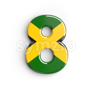 jamaica digit 8 - 3d number Stock Photo