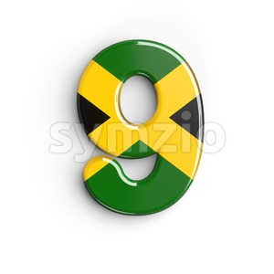 jamaica number 9 - 3d digit Stock Photo