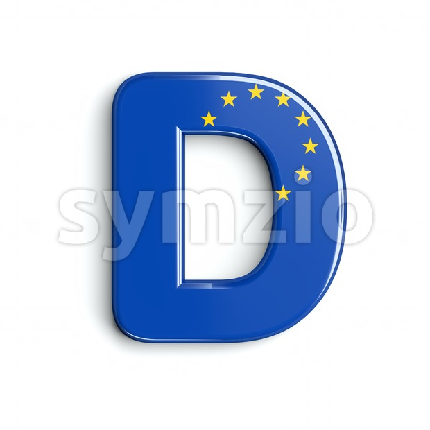 European Union flag font D - Capital 3d character Stock Photo