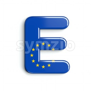 3d Capital character E covered in European Union flag texture Stock Photo