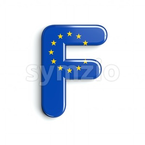 EU flag letter F - Upper-case 3d font Stock Photo