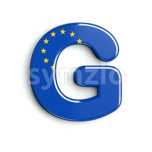 Upper-case EU flag character G - Capital 3d font Stock Photo