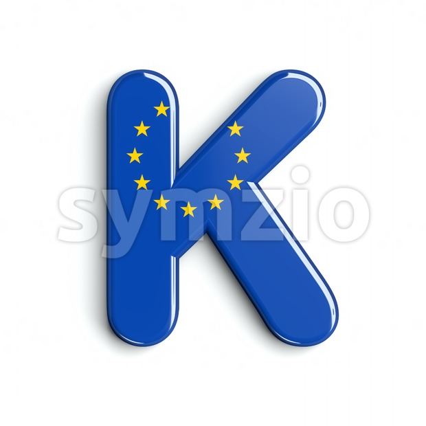 Uppercase EU flag letter K - Capital 3d font Stock Photo