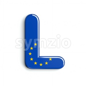 European Union flag 3d font L - Capital 3d character Stock Photo
