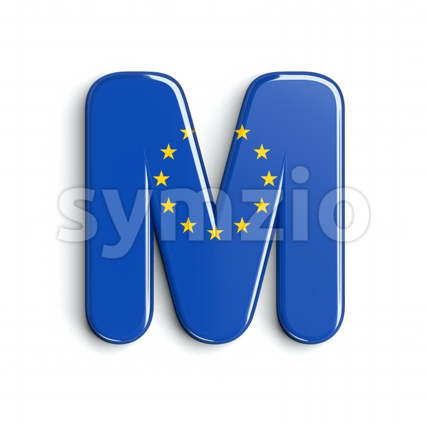 3d Capital character M covered in European Union flag texture Stock Photo