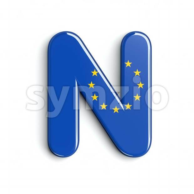 European Union flag font N - Capital 3d letter Stock Photo