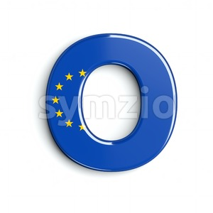 3d Upper-case letter O covered in EU flag texture Stock Photo