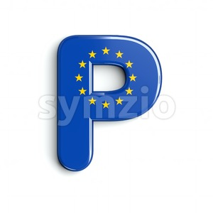 Upper-case European Union flag character P - Capital 3d font Stock Photo