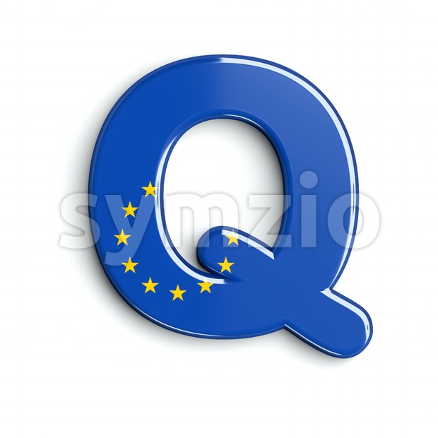 3d Upper-case font Q covered in European Union flag texture Stock Photo