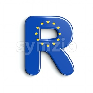 European Union flag letter R - Uppercase 3d font Stock Photo