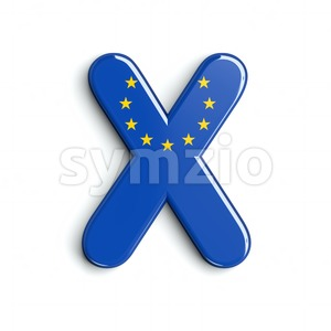 3d Upper-case character X covered in European Union flag texture Stock Photo