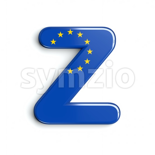 European Union flag letter Z - Upper-case 3d font Stock Photo