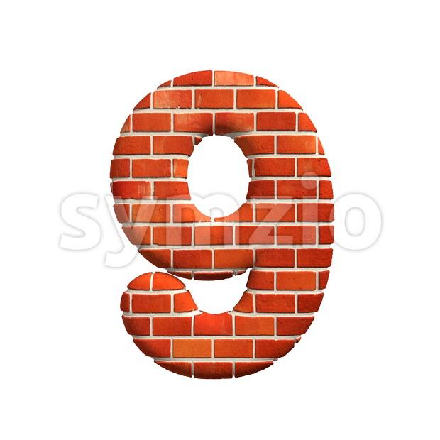 Brick number 9 -  3d digit Stock Photo