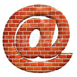 Brick at-sign - 3d arobase symbol Stock Photo
