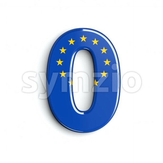 European Union number 0 - 3d digit Stock Photo
