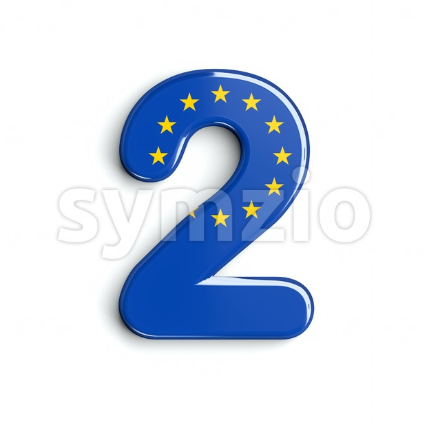 European Union digit 2 - 3d number Stock Photo