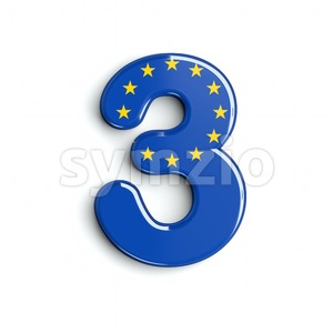 European Union number 3 - 3d digit Stock Photo