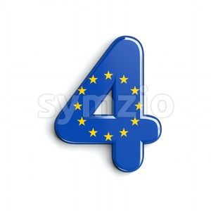 European Union digit 4 - 3d number Stock Photo