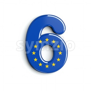 European Union digit 6 - 3d number Stock Photo
