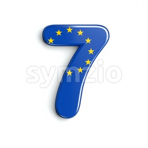 European Union number 7 - 3d digit Stock Photo
