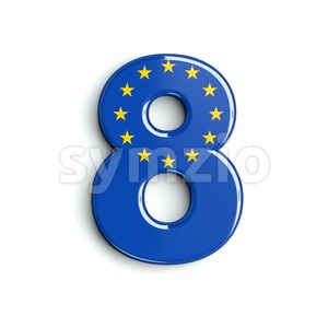 European Union digit 8 - 3d number Stock Photo