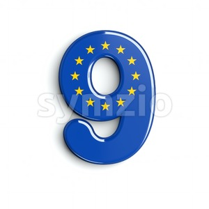 European Union number 9 - 3d digit Stock Photo