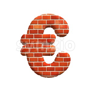 Brick euro currency sign - 3d business symbol Stock Photo