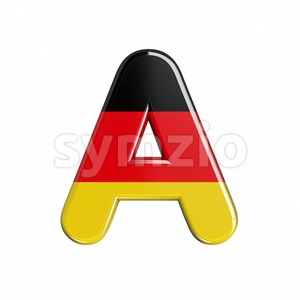 german flag letter A - Capital 3d character Stock Photo