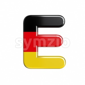 3d Capital character E covered in Germany texture Stock Photo