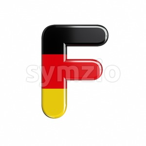 german flag letter F - Upper-case 3d font Stock Photo