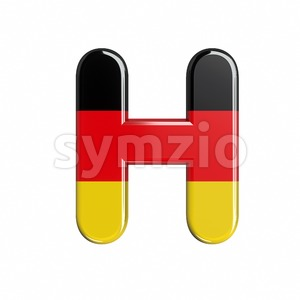 german flag 3d letter H - Upper-case 3d character Stock Photo
