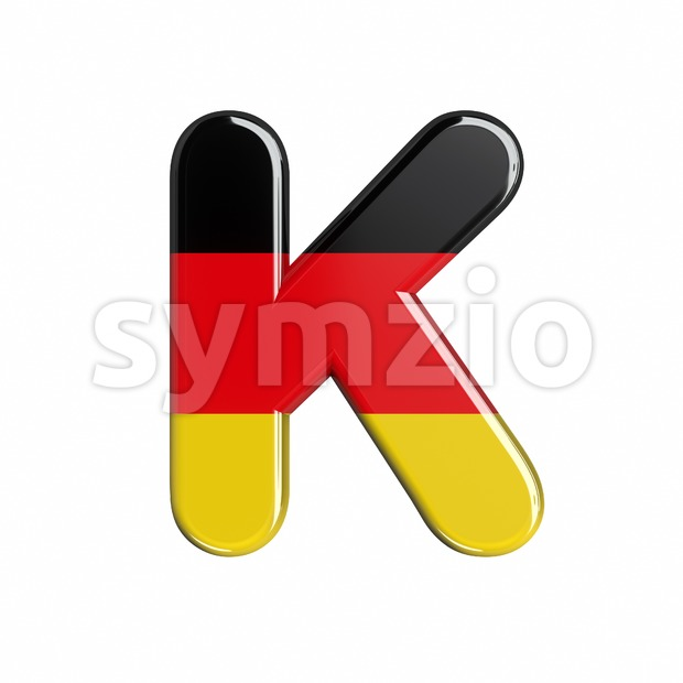 Uppercase german flag letter K