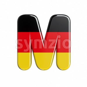 3d Capital character M covered in Germany texture Stock Photo