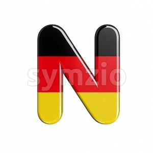 Germany font N - Capital 3d letter Stock Photo
