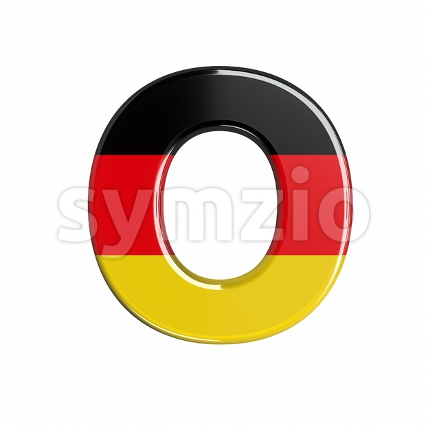 3d Upper-case letter O covered in german flag texture Stock Photo
