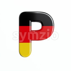Upper-case Germany character P - Capital 3d font Stock Photo