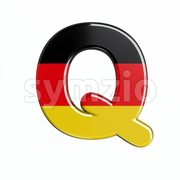 3d Upper-case font Q covered in Germany texture