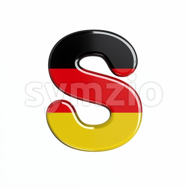 3d Uppercase font S covered in german flag texture Stock Photo