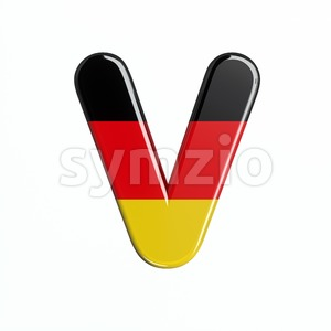 Capital german flag letter V - Upper-case 3d character Stock Photo