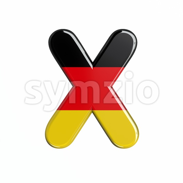 3d Upper-case character X covered in Germany texture