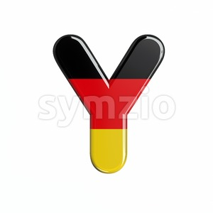 Upper-case german flag font Y - Capital 3d character Stock Photo