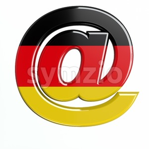 German at-sign - 3d arobase symbol Stock Photo
