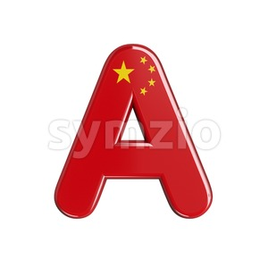 chinese flag letter A - Capital 3d character Stock Photo