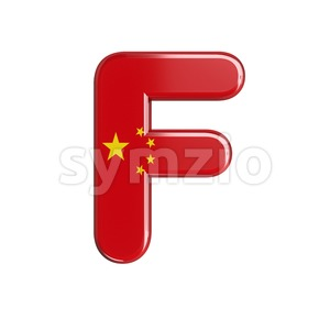 chinese flag letter F - Upper-case 3d font Stock Photo