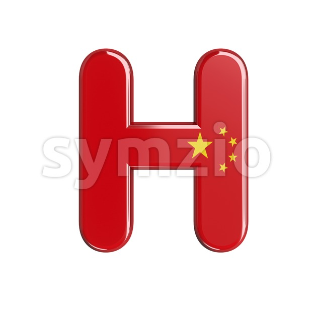 Chinese flag 3d letter H