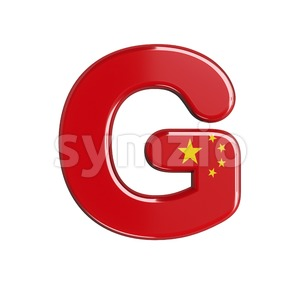 Upper-case chinese flag character G - Capital 3d font Stock Photo