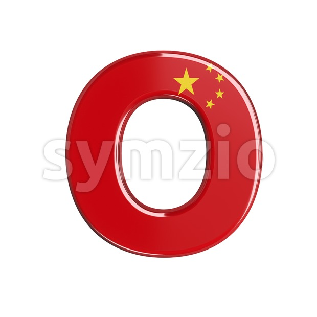 3d Upper-case letter O covered in chinese flag texture