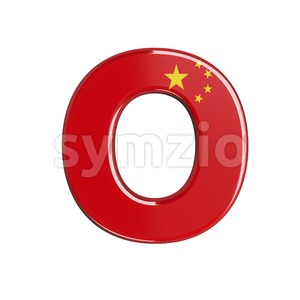 3d Upper-case letter O covered in chinese flag texture Stock Photo