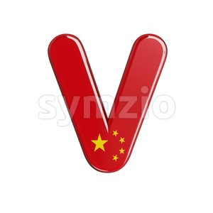 Capital chinese flag letter V - Upper-case 3d character Stock Photo