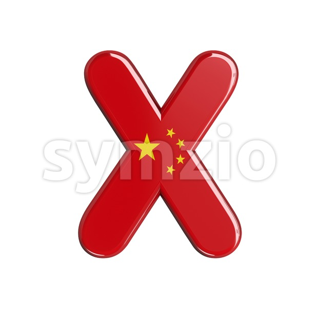 3d Upper-case character X covered in China texture Stock Photo
